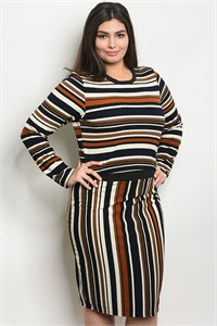 C24-B-2-SET21146X BLACK BRICK STRIPES PLUS SIZE TOP & SKIRT SET 2-2-2