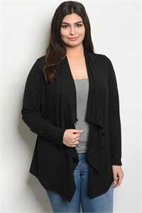 C34-A-2-C805X BLACK PLUS SIZE CARDIGAN 2-2-2