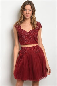 S18-4-5-SET90199 BURGUNDY W/ SEQUINS TOP & SKIRT SET 2-1-1