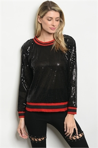 S11-9-4-NA-T75440 BLACK RED W/ SEQUINS TOP 1-2-2-1