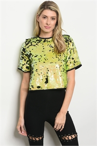 S9-4-5-NA-T72909 LIME BLACK W/ SEQUINS TOP 3-2-1