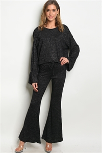 S8-5-1-SET13570 BLACK WITH GLITTER TOP & PANTS SET 3-2-1