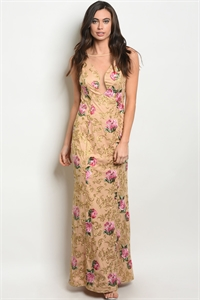 SA4-00-2-D24223 TAUPE WITH FLOWER EMBROIDERY DRESS 2-2-2