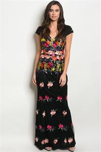 SA4-000-5-D14070 BLACK WITH FLOWER EMBROIDERY DRESS 2-2-2