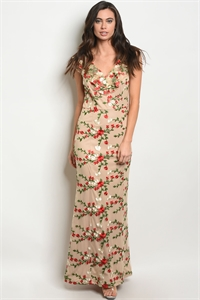 SA3-00-3-D24157 TAUPE WITH FLOWER EMBROIDERY DRESS 2-2-2