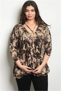 C75-A-5-T61401X TAUPE BROWN PLUS SIZE TOP 2-2-2