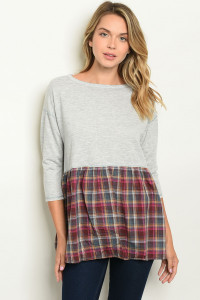 S12-8-5-T10734 GRAY WINE CHECKERED TOP 2-2-2