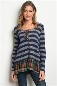 S18-11-6-T12034 NAVY STRIPES TOP 2-2-2