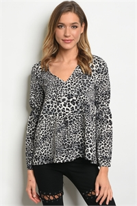 SA3-6-5-T12166 GRAY ANIMAL LEOPARD PRINT TOP 2-2-2