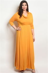 C53-A-4-D722X MUSTARD PLUS SIZE DRESS 2-2-2