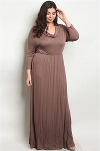 C43-A-4-D722X MOCHA PLUS SIZE DRESS 2-2-2