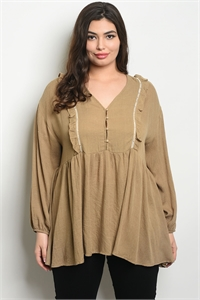S16-5-2-T3659X TAUPE CREAM PLUS SIZE TOP 2-2-2