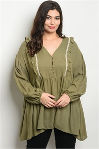 S20-11-1-T3659X OLIVE CREAM PLUS SIZE TOP 2-2-2