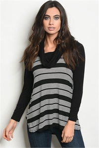 C84-A-2-T5038 BLACK IVORY STRIPES TOP 2-2-2