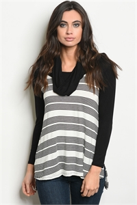 C88-A-3-T5038 IVORY BLACK STRIPES TOP 2-2-2