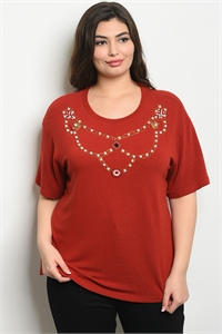 S15-4-2-T10162X BURGUNDY WITH PEARL PLUS SIZE TOP 2-2-2