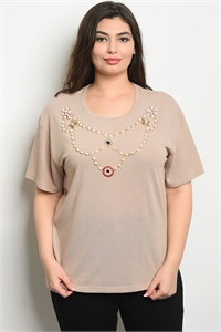 S15-4-2-T10162X KHAKI WITH PEARL PLUS SIZE TOP 2-2-2