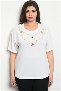 S16-1-2-T10162X OFF WHITE WITH PEARL PLUS SIZE TOP 3-3-2