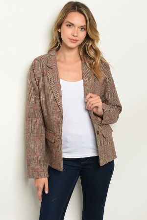 S12-6-2-J00392 MOCHA EARTH CHECKERED BLAZER 2-2-2