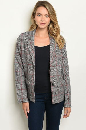 S12-9-4-J00392 BLACK WINE CHECKERED BLAZER 2-2-2