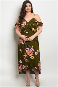S15-5-1-D10234X OLIVE FLORAL PLUS SIZE DRESS 2-2-2