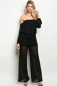 C61-A-2-J3195 BLACK MESH WITH GLITTER JUMPSUIT 2-2-2