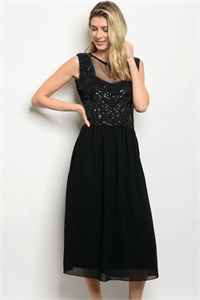 S11-20-2-D4666 BLACK WITH SEQUINS DRESS 2-2-2