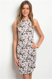 C93-A-6-D10524 BLUSH BLACK FLORAL DRESS 1-2-2-1