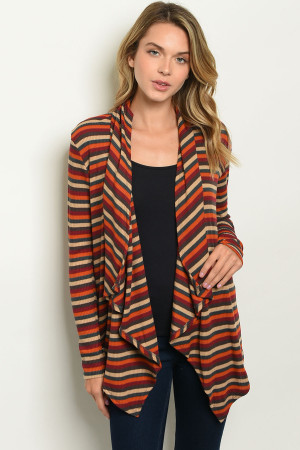 C79-A-6-C289 EARTH TAUPE STRIPES CARDIGAN 2-2-2-1