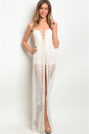 C95-A-1-D7252 IVORY LACE EMBROIDERY ROMPER 2PCS