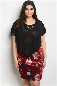 C8-A-2-D96151X BLACK WINE FLORAL PLUS SIZE DRESS 2-2-2