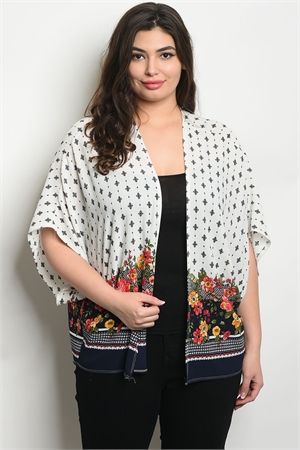 C18-B-6-C82311X OFF WHITE NAVY FLORAL PLUS SIZE CARDIGAN 2-2-2
