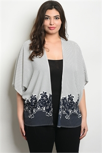 C18-B-1-C82313X OFF WHITE NAVY PLUS SIZE CARDIGAN 2-2-2