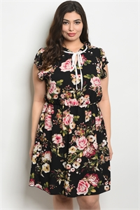 C28-A-3-D9886X BLACK FLORAL PLUS SIZE DRESS 2-2-2