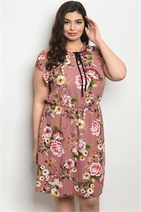 C22-A-3-D9886X MAUVE FLORAL PLUS SIZE DRESS 2-2-2