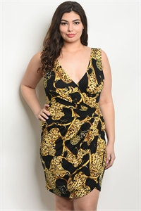 C32-A-4-D04671X BLACK MUSTARD PLUS SIZE DRESS 2-2-2