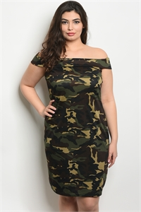 C46-A-1-D0305X OLIVE BROWN CAMOUFLAGE PLUS SIZE DRESS 2-2-2
