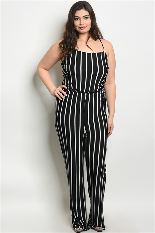 C36-A-7-J0198X BLACK WHITE PLUS SIZE JUMPSUIT 2-2-2