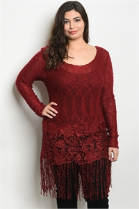 SA3-0-5-D7257X BURGUNDY PLUS SIZE DRESS 2-2-2