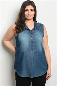 SA4-000-1-D6718X DENIM PLUS SIZE TOP 2-2-2