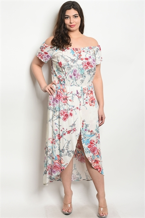 b2fcfbe4dc37 Quick View this Product SA4-000-5-R9460X IVORY FLORAL PLUS SIZE ROMPER 2-2-