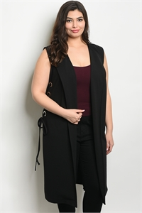 SA4-00-3-V9205X BLACK PLUS SIZE VEST 2-2-2