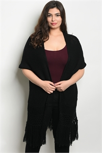 SA4-00-1-C7285X BLACK PLUS SIZE CARDIGAN 2-2-2