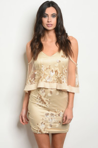 S13-6-2-D30164 NUDE GOLD WITH SEQUINS DRESS 2-2-2  ***WARNING: California Proposition 65***