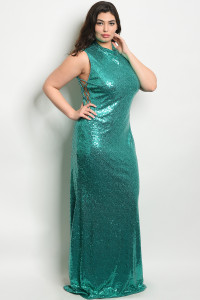 S22-5-1-D10101X EMERALD WITH SEQUINS PLUS SIZE DRESS 2-2-2
