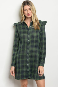 S20-4-3-D62504 GREEN NAVY CHECKERED DRESS 2-2-2