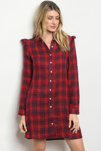 S20-10-3-D62504 RED NAVY CHECKERED DRESS 2-2-2