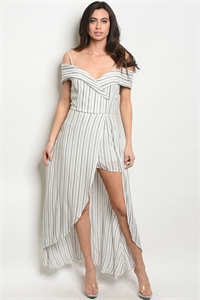 S12-10-2-R3057 WHITE BLACK STRIPES ROMPER 2-2-2