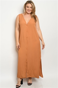 S21-7-1-D17214X APRICOT PLUS SIZE DRESS 3-1-2