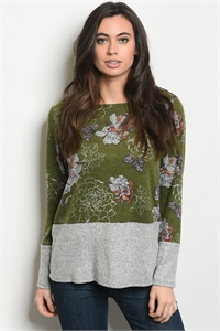 C63-B-2-T6144 GREEN GRAY FLORAL TOP 2-2-2